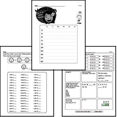 Mental Math Mixed Math PDF Workbook for Third Graders