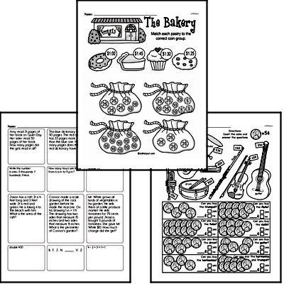 Money Math - Adding Groups of Coins Mixed Math PDF Workbook for Third Graders