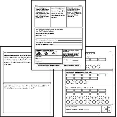 Money Math - Adding Money Mixed Math PDF Workbook for Third Graders