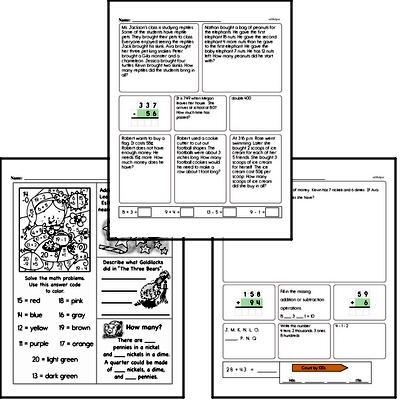Money Math - Dimes Mixed Math PDF Workbook for Third Graders