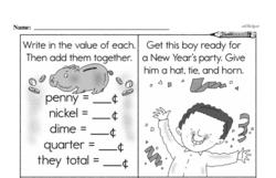 Third Grade Money Math Worksheets - Nickels Worksheet #4