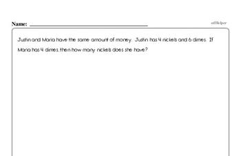 Money Math - Nickels Mixed Math PDF Workbook for Third Graders