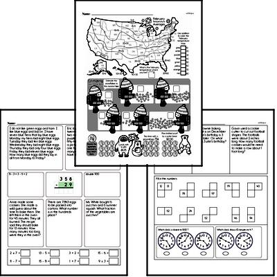 Money Math - Quarters Mixed Math PDF Workbook for Third Graders