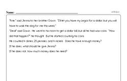 Money Math - Subtracting Money Mixed Math PDF Workbook for Third Graders