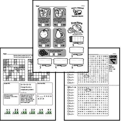 Multiplication - Multi-Digit Multiplication Mixed Math PDF Workbook for Third Graders
