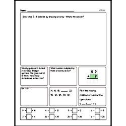 Multiplication - Multiplication within 25 and Rectangular Arrays Mixed Math PDF Workbook for Third Graders