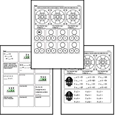 Multiplication Facts Mad Minute Worksheets (multiply by 2 to 12)