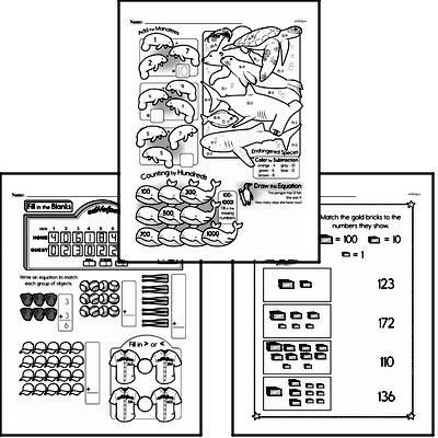 Number Sense - Three-Digit Numbers Workbook (all teacher worksheets - large PDF)