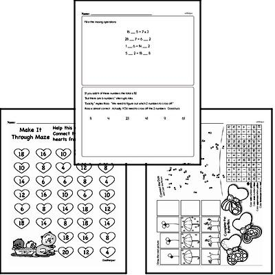 Number Sense - Two-Digit Numbers Mixed Math PDF Workbook for Third Graders