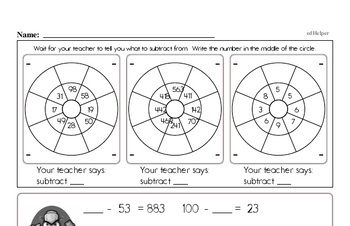 Subtraction Facts Mad Minute Worksheets (challenging mix)