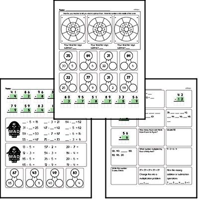 Subtraction Facts Mad Minute Worksheets (subtraction of 1-digit from 2-digits)
