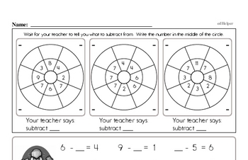 Subtraction Facts Mad Minute Worksheets (subtraction of 2 to 12)