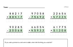 Free Third Grade Subtraction PDF Worksheets Worksheet #38