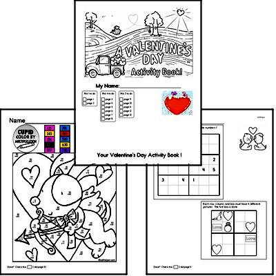 Third Grade Valentine's Day Worksheets Activity Book (more challenging)