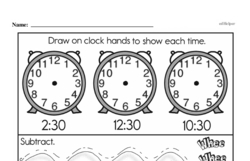 Third Grade Time Worksheets - Time to the Minute Worksheet #2