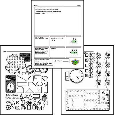 Time - Time to the Nearest Five Minutes Mixed Math PDF Workbook for Third Graders