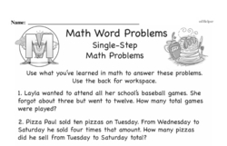 Word Problems Worksheets - Free Printable Math PDFs Worksheet #1