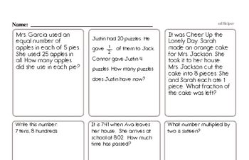 Third Grade Word Problems Book