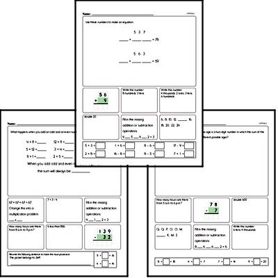 Word Problems and Mixed Math Review Worksheets and Workbook
