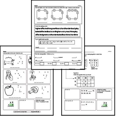 August Fun Packets - Small 5-7 Page Worksheets<BR>Use for homework, in the classroom, or for fast finishers.