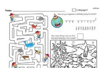 3rd grade: Earth Day and Caring for Earth Math Challenge Workbook