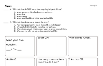 3rd grade: Earth Day Reading Comprehension Workbook with Math