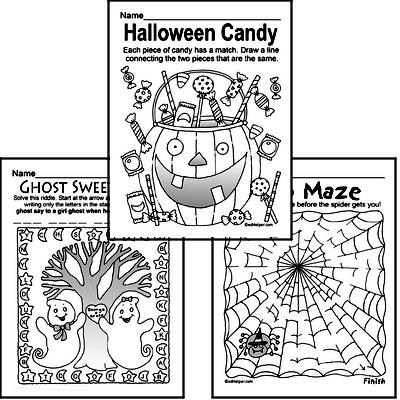 halloween puzzle worksheets