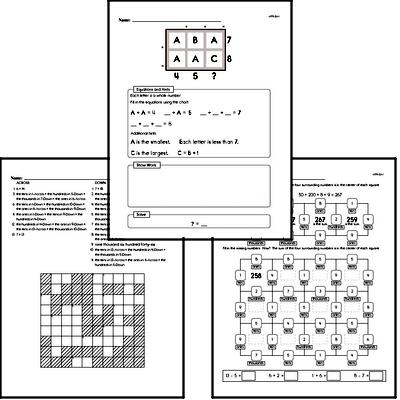 Math Puzzle Worksheets for Third Graders - Large Workbook of Math Puzzle Worksheets