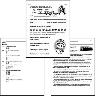 Third Grade Thanksgiving, Pilgrims, and Native Americans Reading Comprehension Workbook with Math