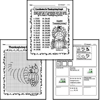 Third Grade Thanksgiving Math Challenge Workbook