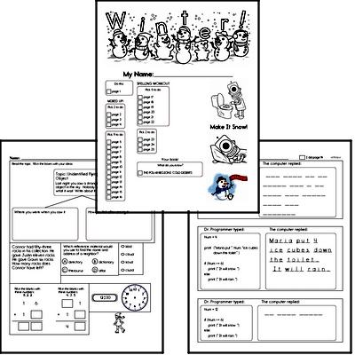 Third Grade Winter Activity No Prep Workbook Worksheets