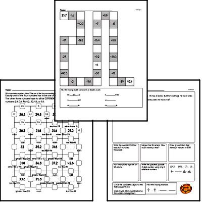 Addition - Addition with Decimal Numbers Mixed Math PDF Workbook for Fourth Graders