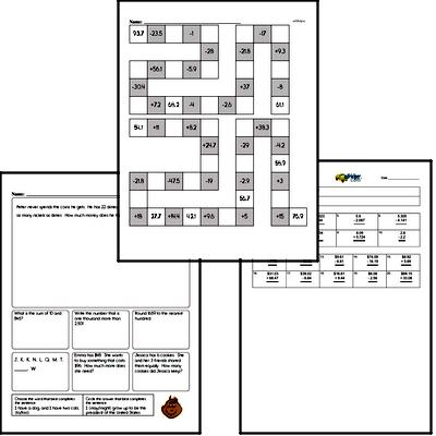 Addition - Addition with Decimal Numbers Workbook (all teacher worksheets - large PDF)
