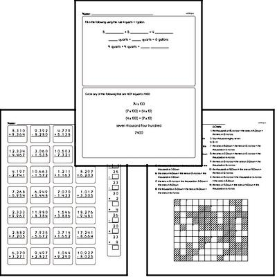 Addition - Multi-Digit Addition Mixed Math PDF Workbook for Fourth Graders