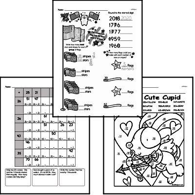 Addition - Three-Digit Addition Mixed Math PDF Workbook for Fourth Graders