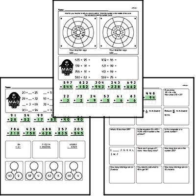 Addition Facts Mad Minute Worksheets (addition mix)