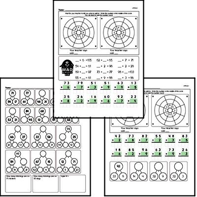 Addition Facts Mad Minute Worksheets (addition of 2-digits to 1 digit)