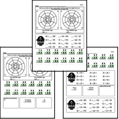 Addition Facts Mad Minute Worksheets (addition of 2-digits to 2-digits)
