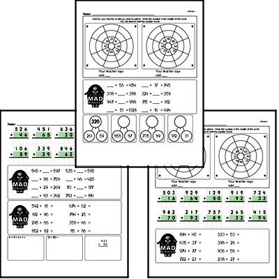 Addition Facts Mad Minute Worksheets (addition of 3-digits to 2-digits)