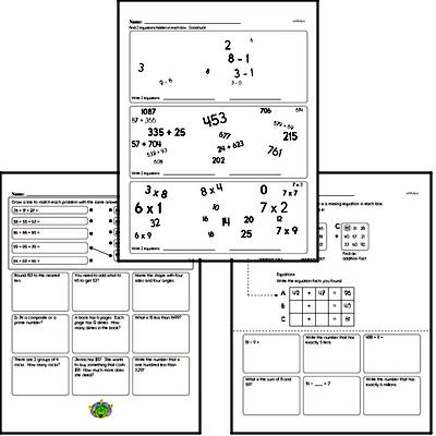 Addition Mixed Math PDF Workbook for Fourth Graders