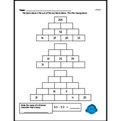 Addition Pyramid Puzzle Problem Worksheet (Easy)