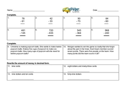 1st Quarter Math Assessment for Fourth Grade - Few Mixed Review Math Problem Pages