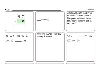 End of the Year Fourth Grade Math Assessments