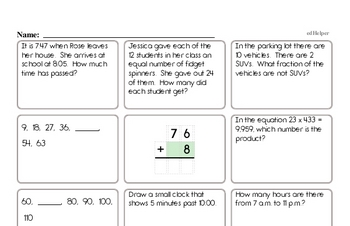 Start of the Year Fourth Grade Math Assessments