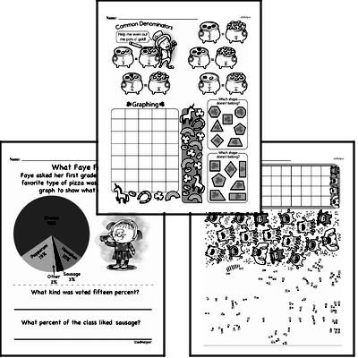 Data - Graphing Mixed Math PDF Workbook for Fourth Graders