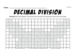 Division - Decimal Division Mixed Math PDF Workbook for Fourth Graders