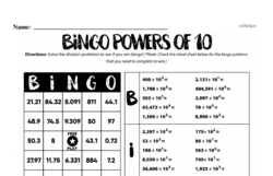 Division - Division and Powers of 10 Mixed Math PDF Workbook for Fourth Graders