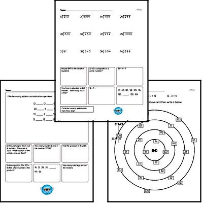 Division - Division without Remainders Mixed Math PDF Workbook for Fourth Graders