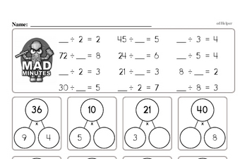Division Facts Mad Minute Worksheets (divide by 2 to 9)