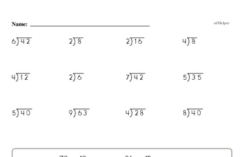 Division Worksheets Free Printable Math Pdfs Edhelper Com